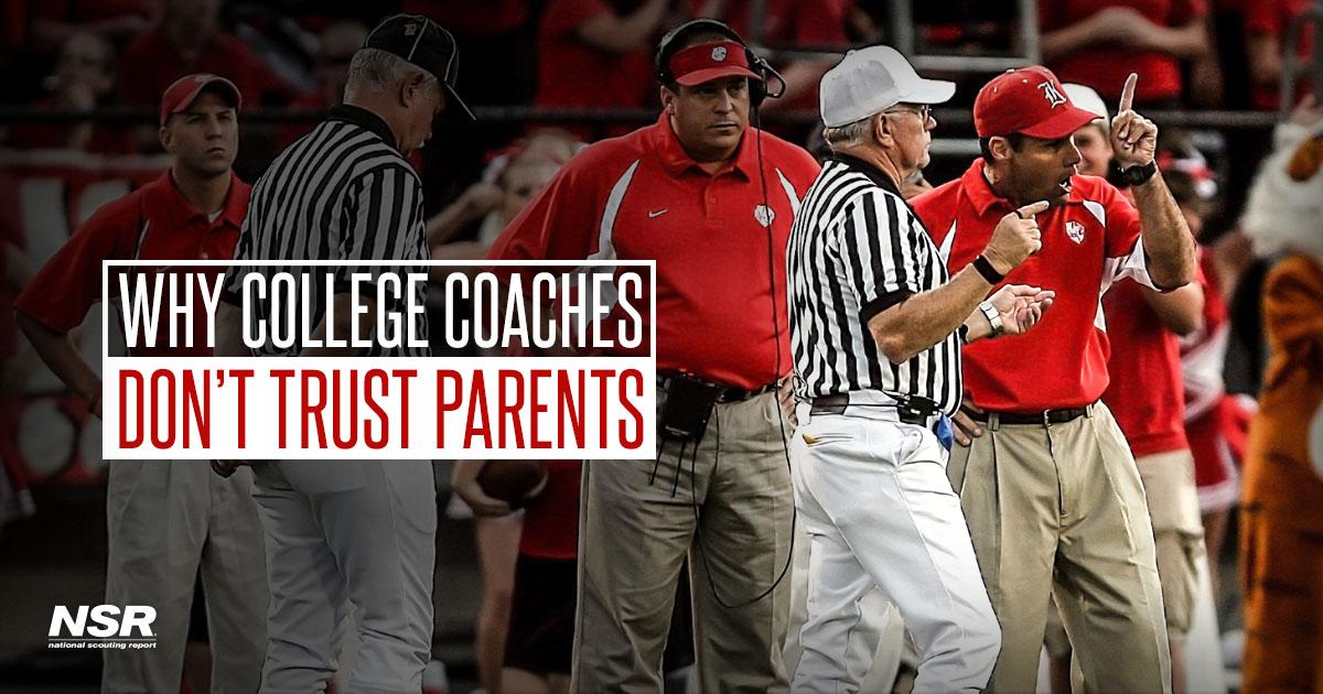 college coaches don't trust parents