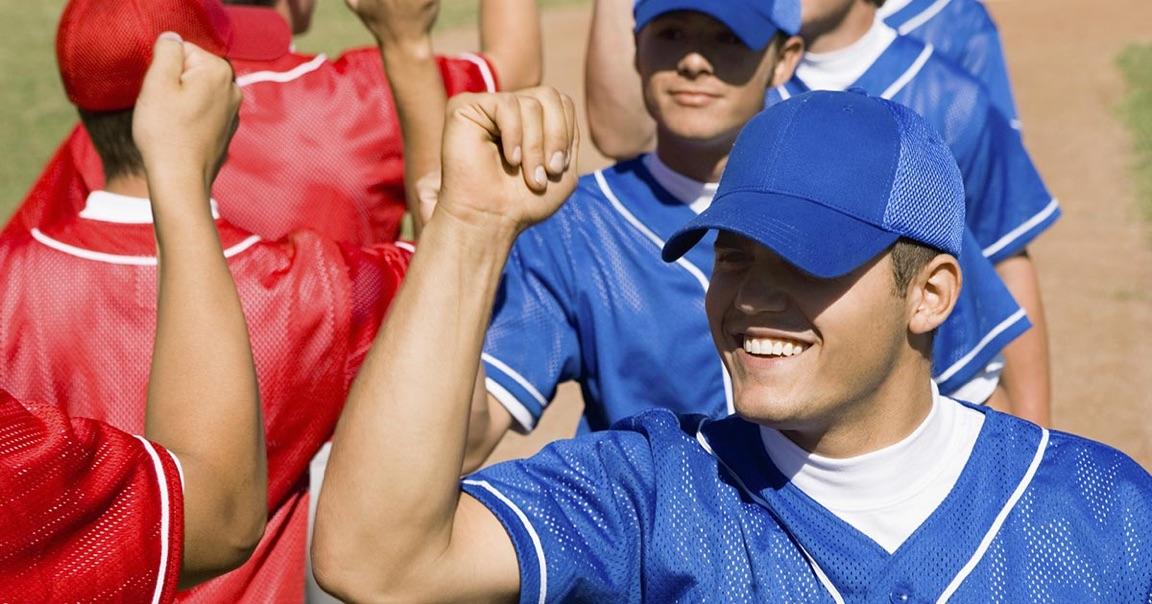 baseball and softball players handshakes